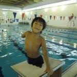 Gabe preparing for a swim. Photo credit: Karen Petersen