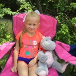 "Sweet girl wore her ""Victorious"" T-shirt and brought her hippo because we sing a hippo song together!"
